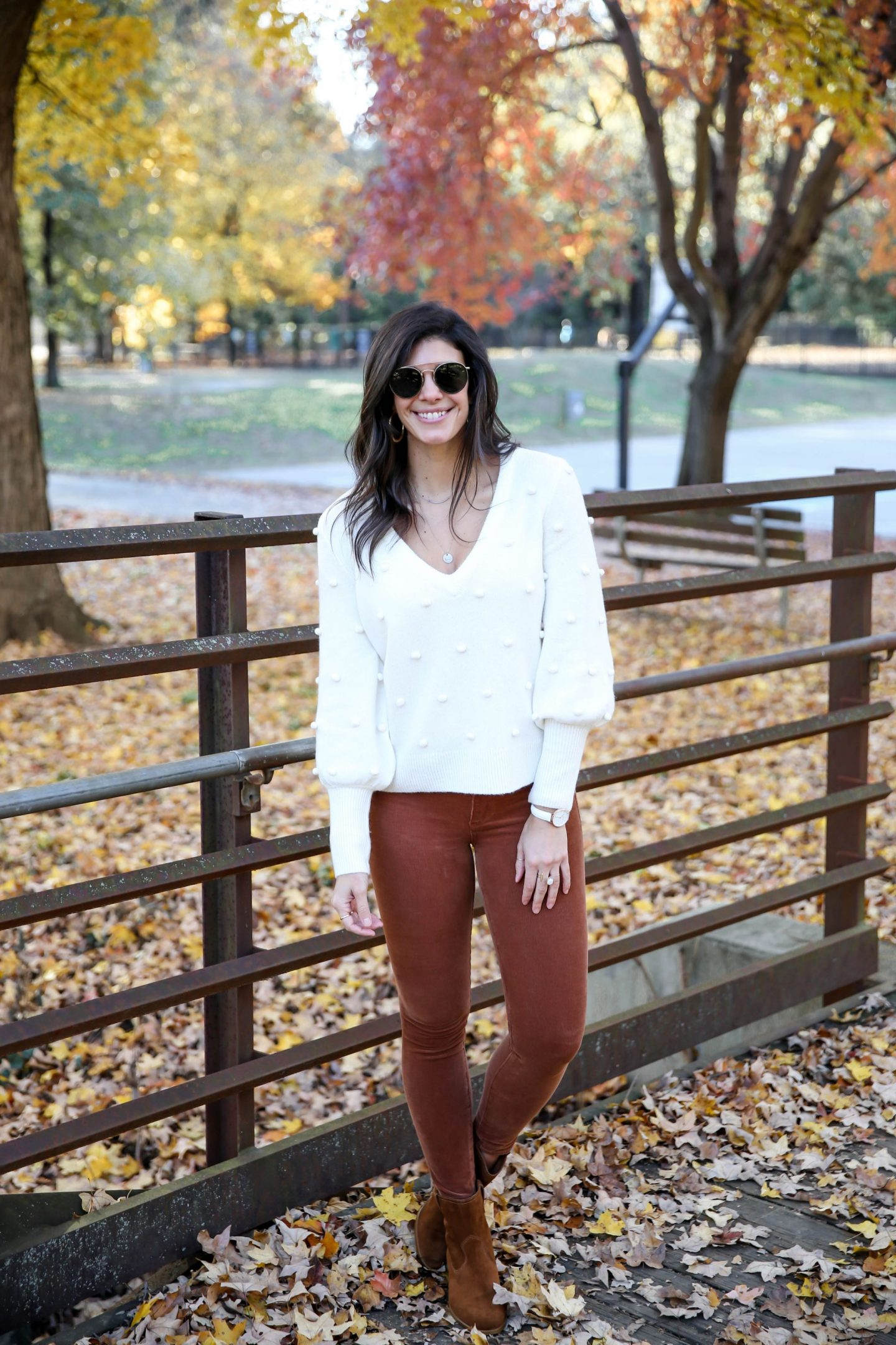 winter white sweater - orange corduroy skinnies - Lauren Schwaiger style blog