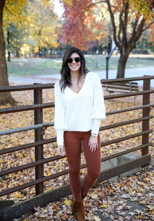 winter white sweater - orange corduroy skinnies - Lauren Schwaiger style blog