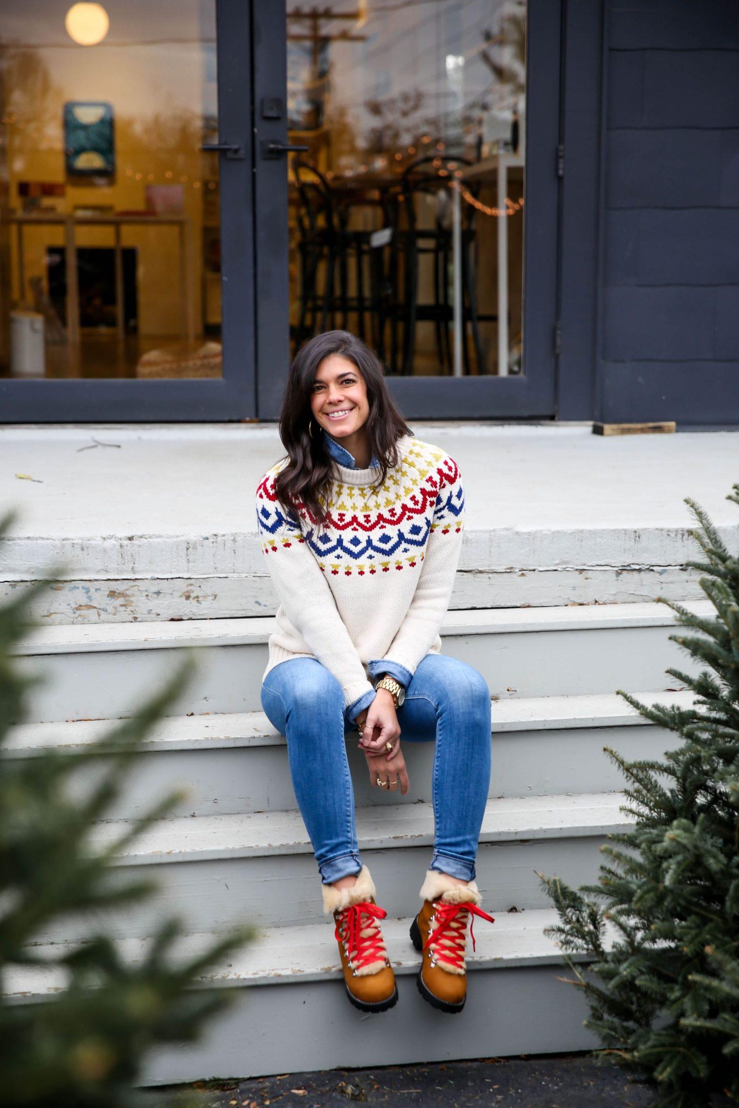 fair isle sweater - winter boots - Lauren Schwaiger style blogger