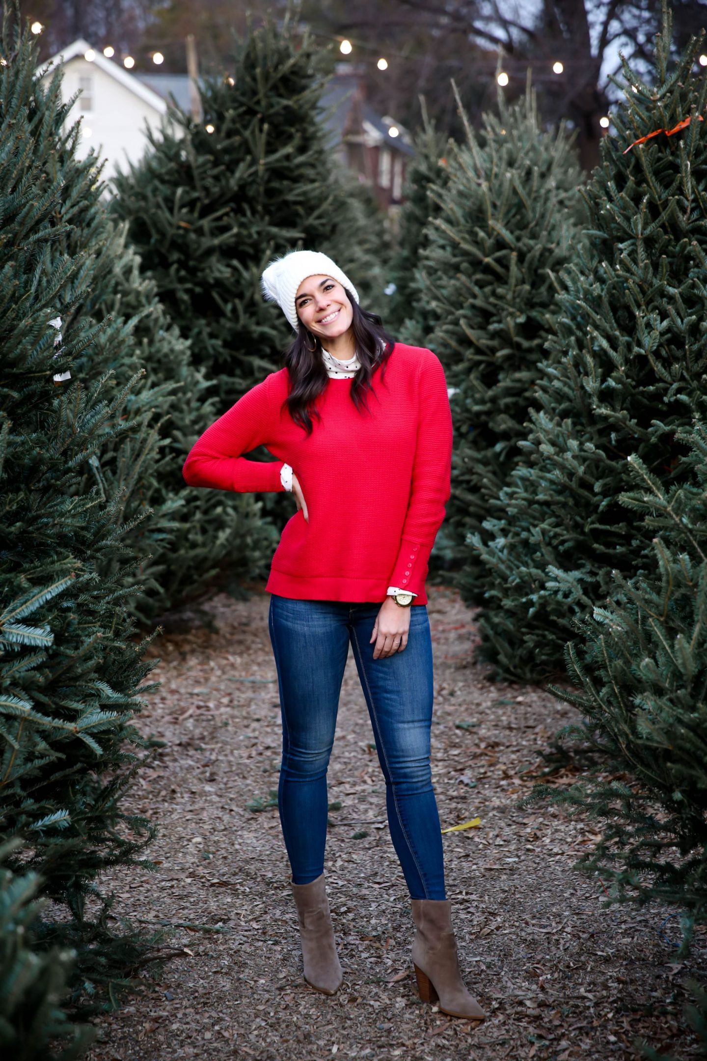 red sweater - holiday style - Lauren Schwaiger style blog