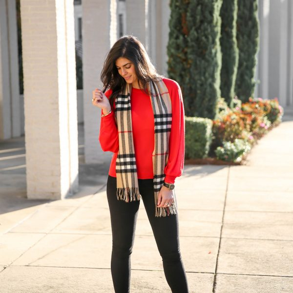 Clients to Cocktails : Black Skinny Jeans, Red Sweater + Burberry Scarf