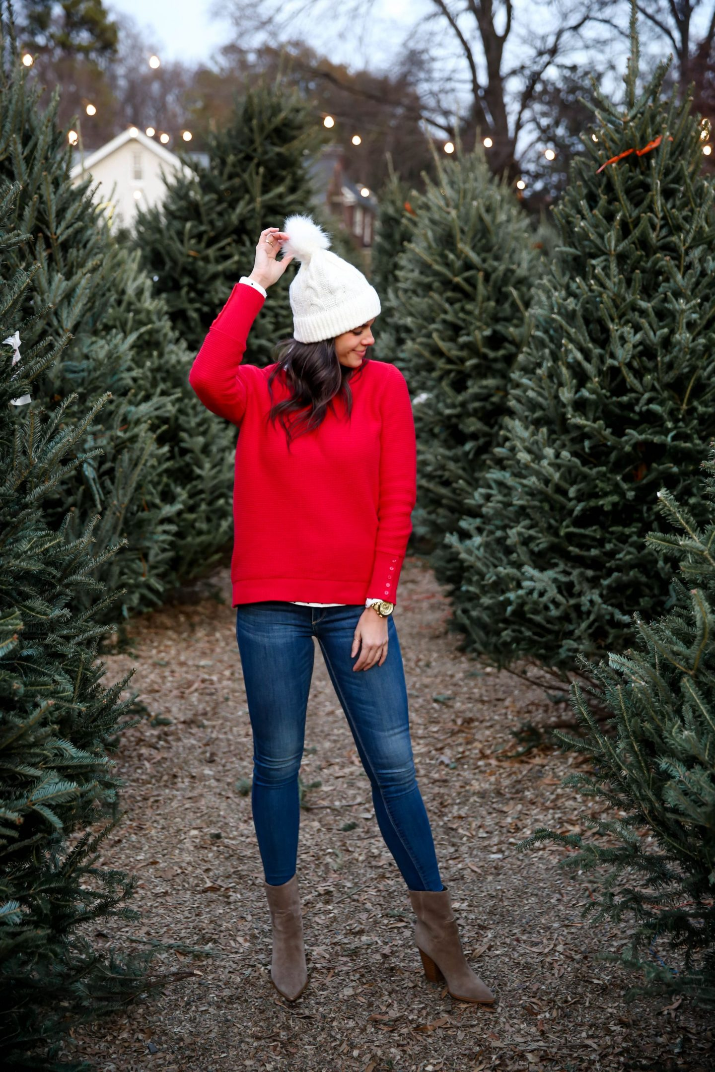 pom pom beanie - red sweater - holiday style - Lauren Schwaiger style blog