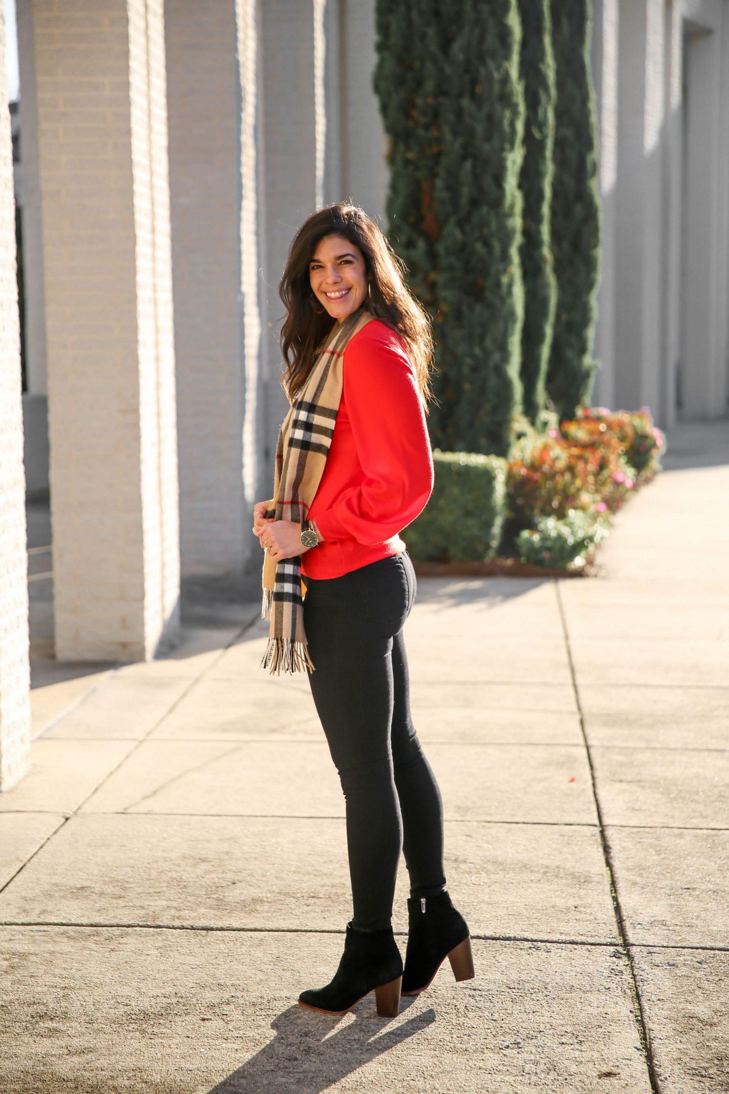 black skinny jeans - red sweater - Burberry scarf - Lauren Schwaiger style blog