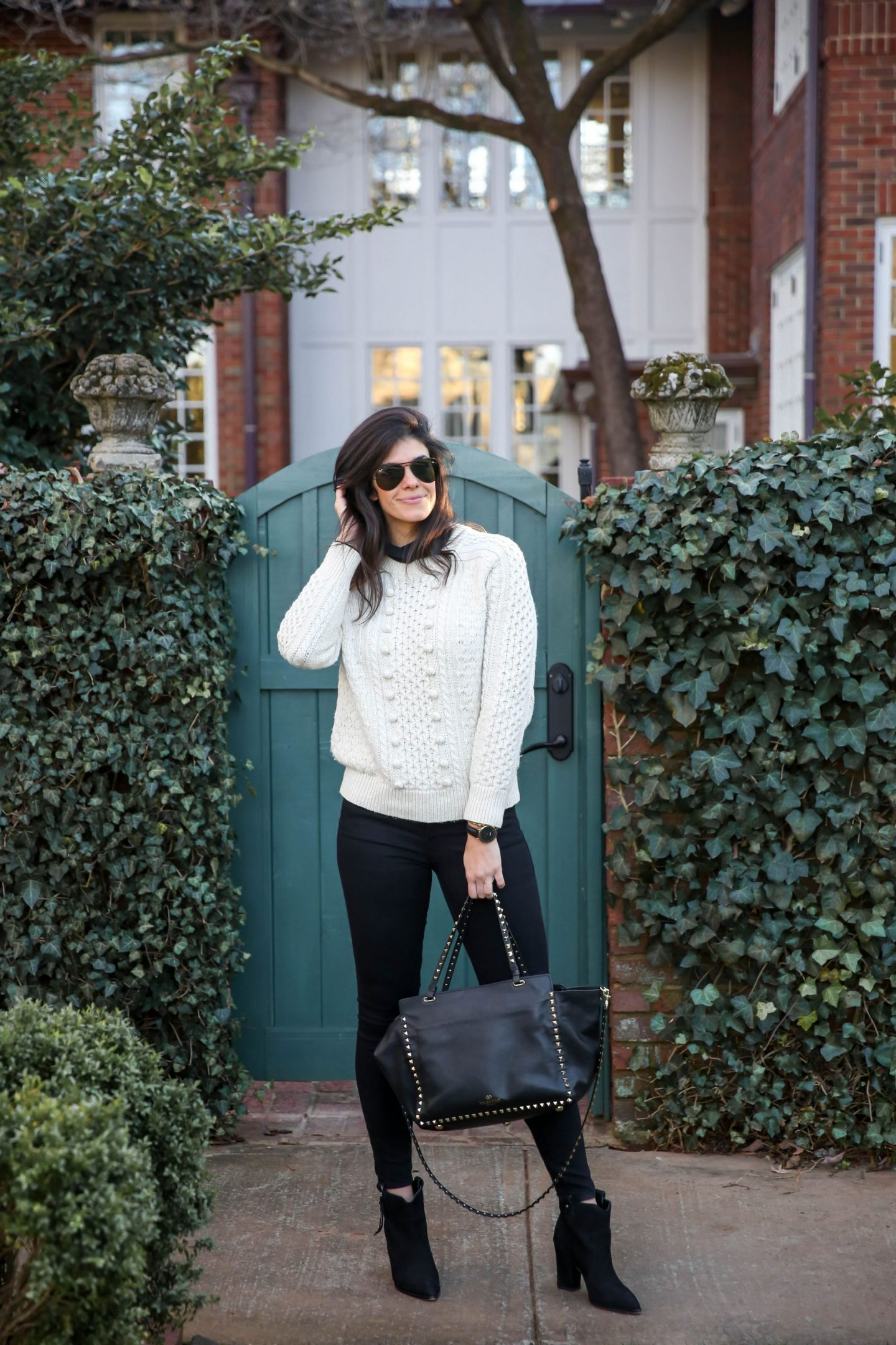 black turtleneck - cream Cable knit sweater - black skinny jeans - Lauren Schwaiger