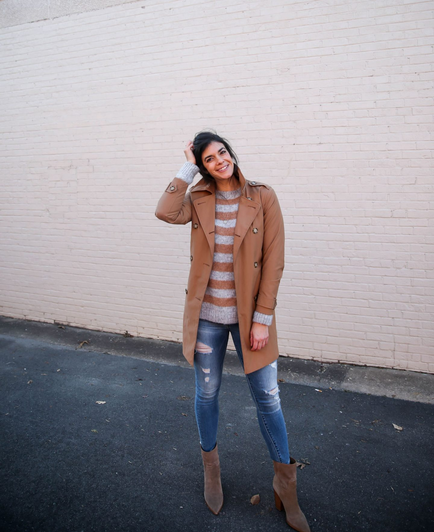 stripe sweater - trench coat - casual chic style inspiration - Lauren Schwaiger