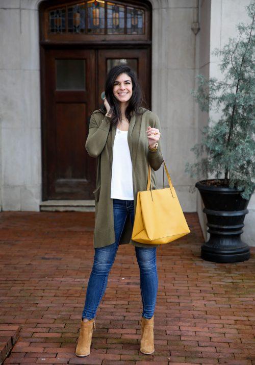 olive green - lightweight cardigan - Lauren Schwaiger Style Blog