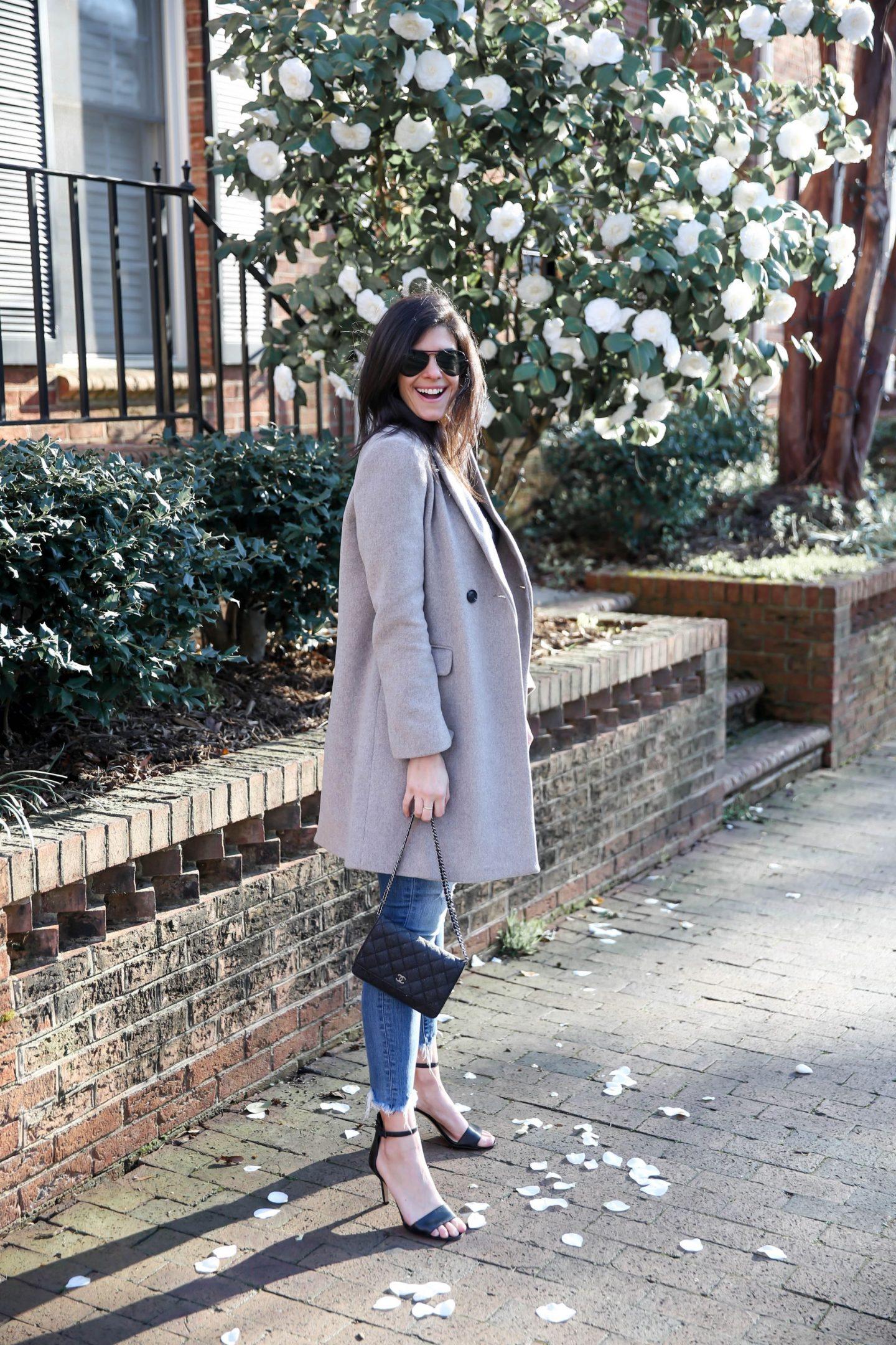 classic winter coat - ankle strap heels - Laurens Schwaiger Winter Outfit Inspo