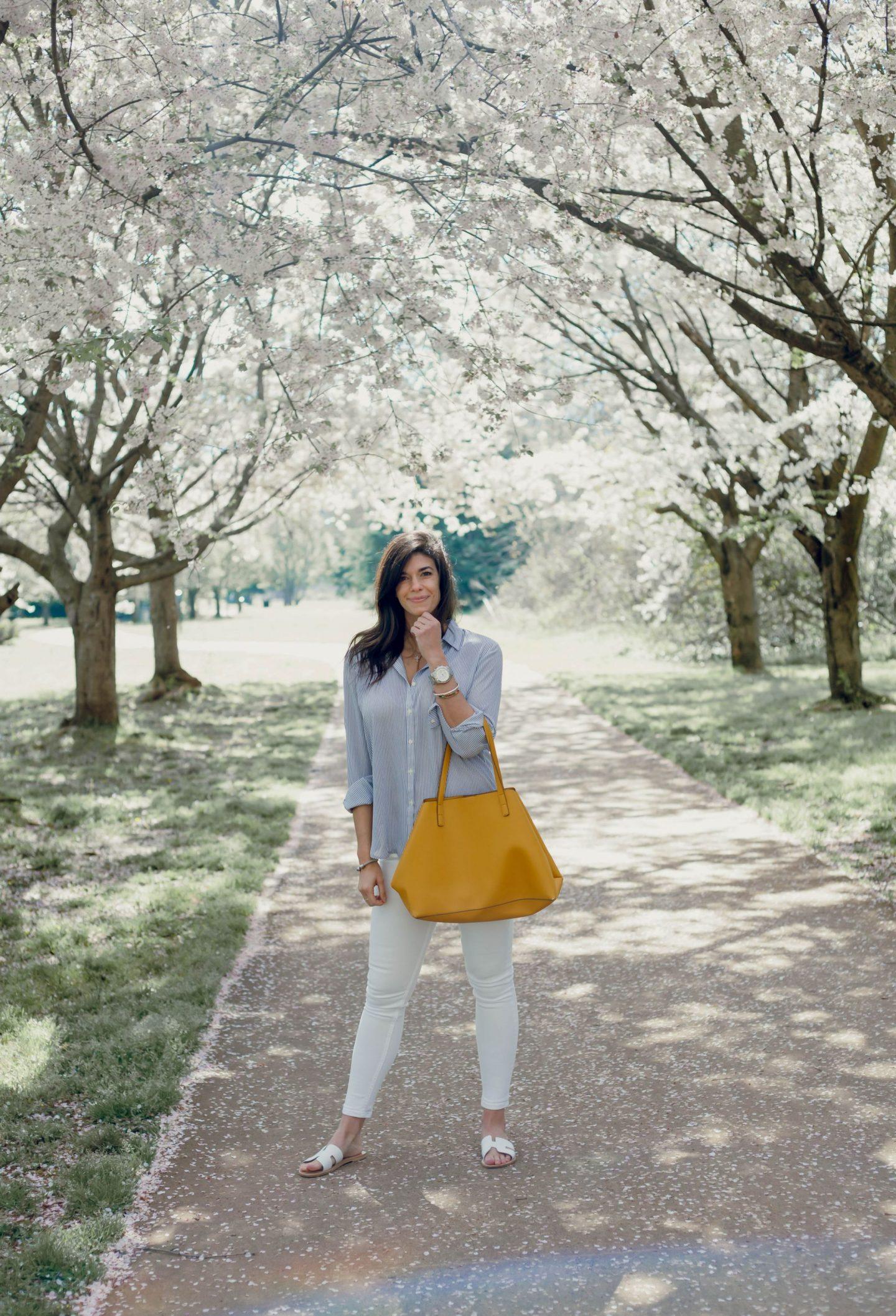 spring style - white denim - stripe button down - Lauren Schwaiger style blog