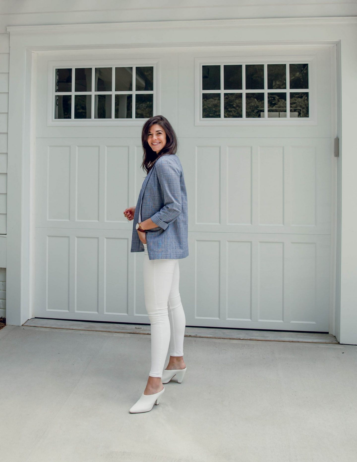 white denim - plaid blazer - white mules - Lauren Schwaiger style blogger