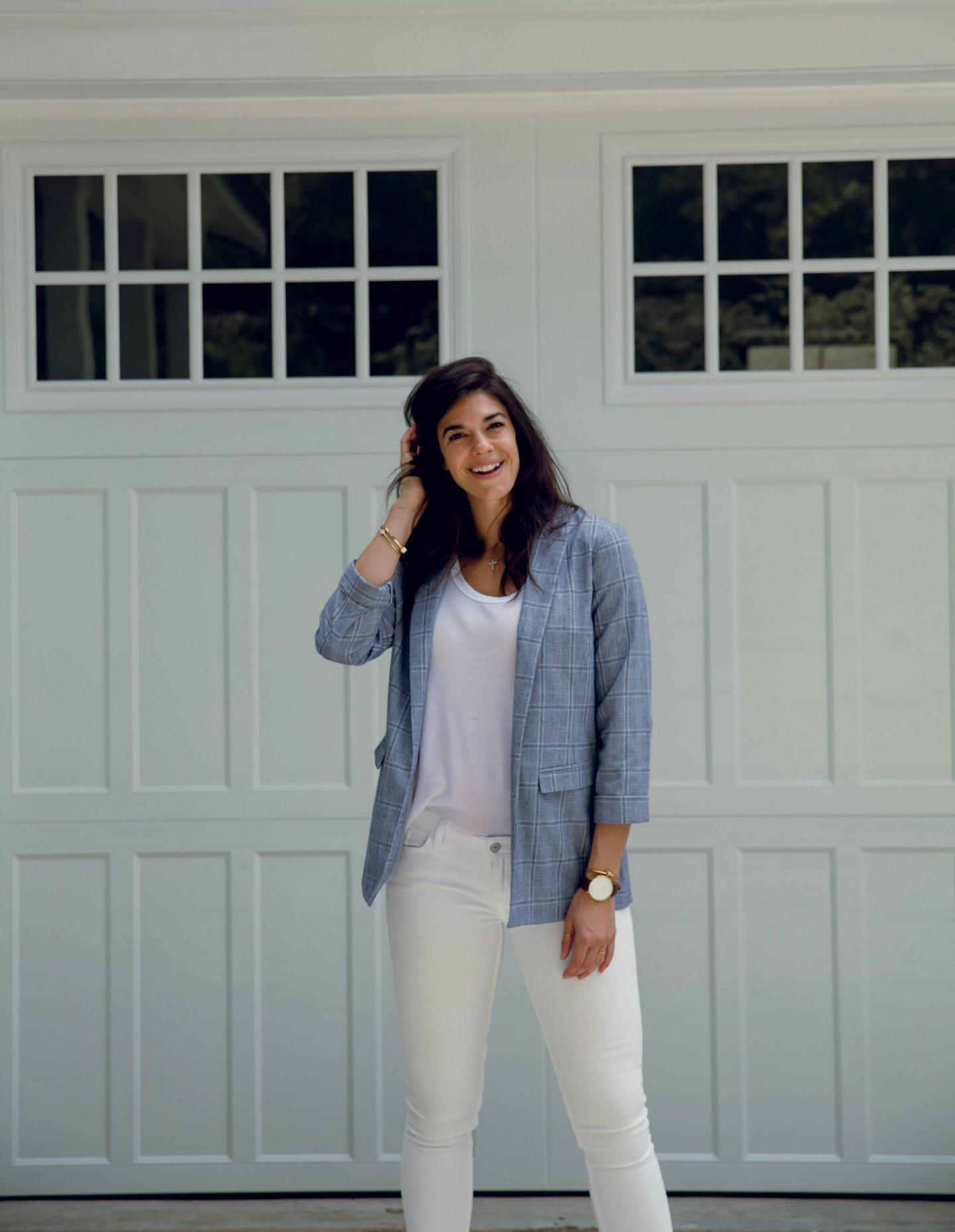 white denim - plaid summer blazer - Lauren Schwaiger style blog