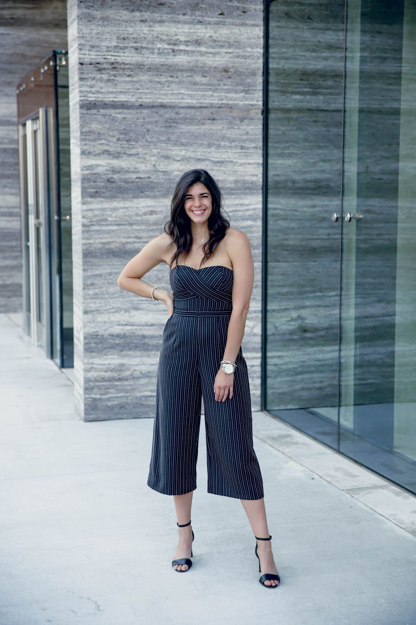 jumpsuits for date night or girls night out - black & white stripe jumpsuit - Lauren Schwaiger style blog