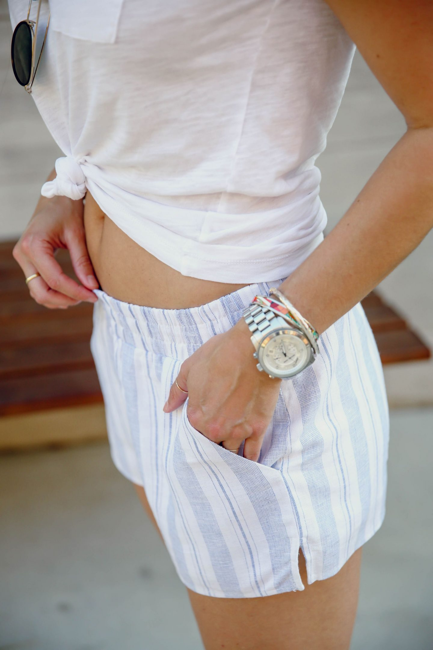 striped linen shorts for summer - Lauren Schwaiger style blog
