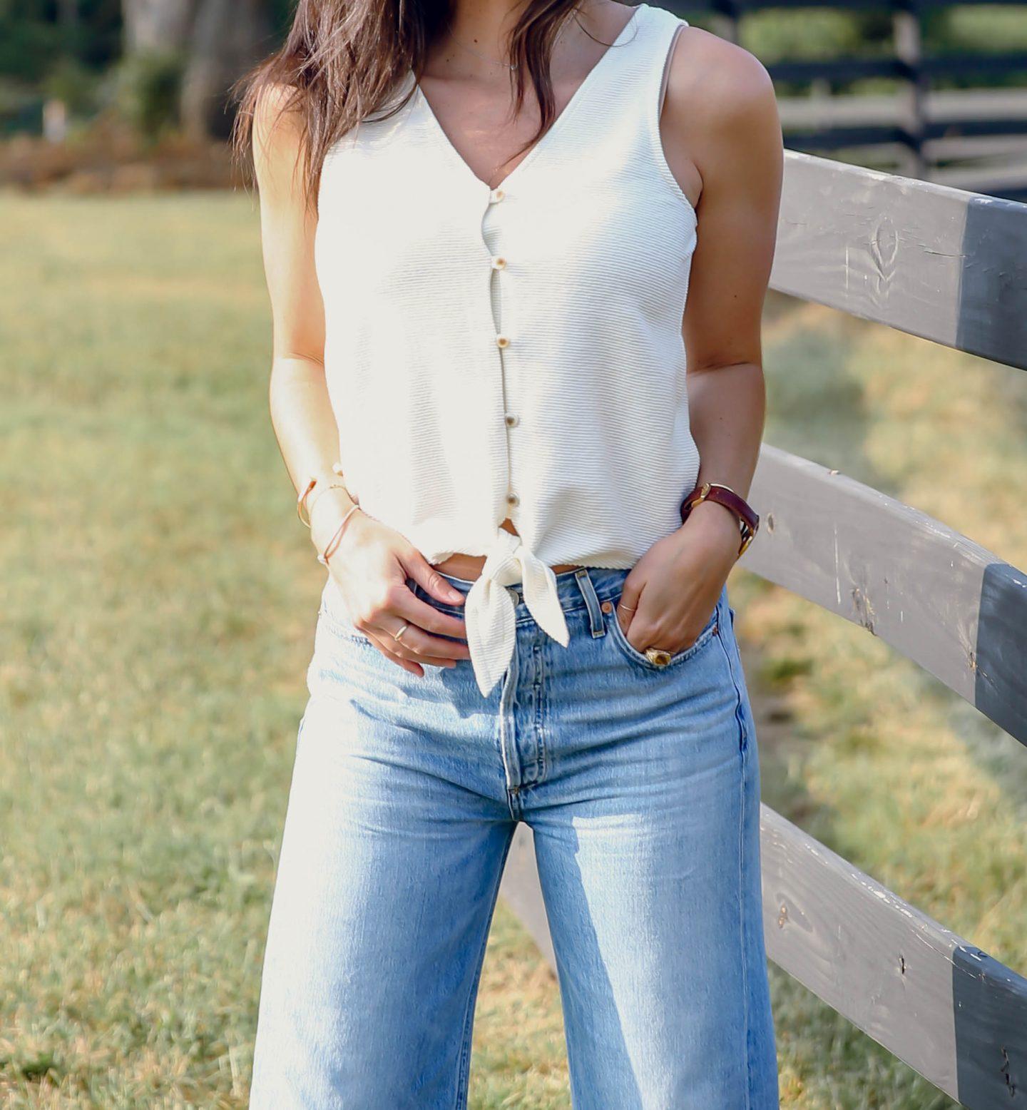 Madewell tie front tank - summer style - Lauren Schwaiger
