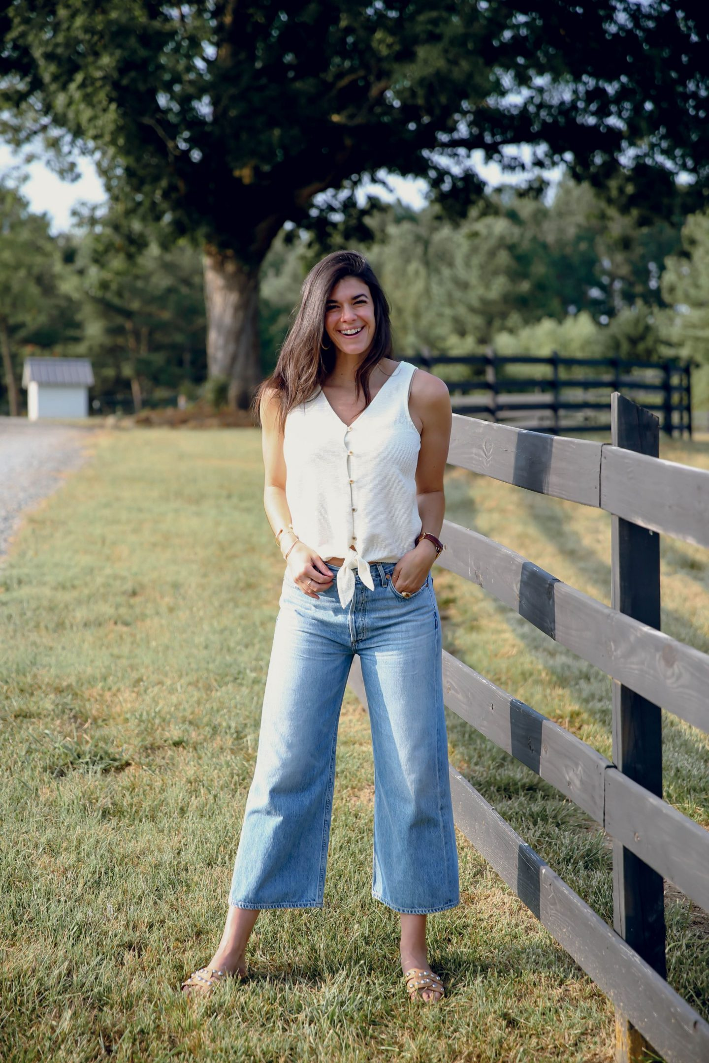 wide leg denim - tie top - summer outfit inspiration - Lauren Schwaiger