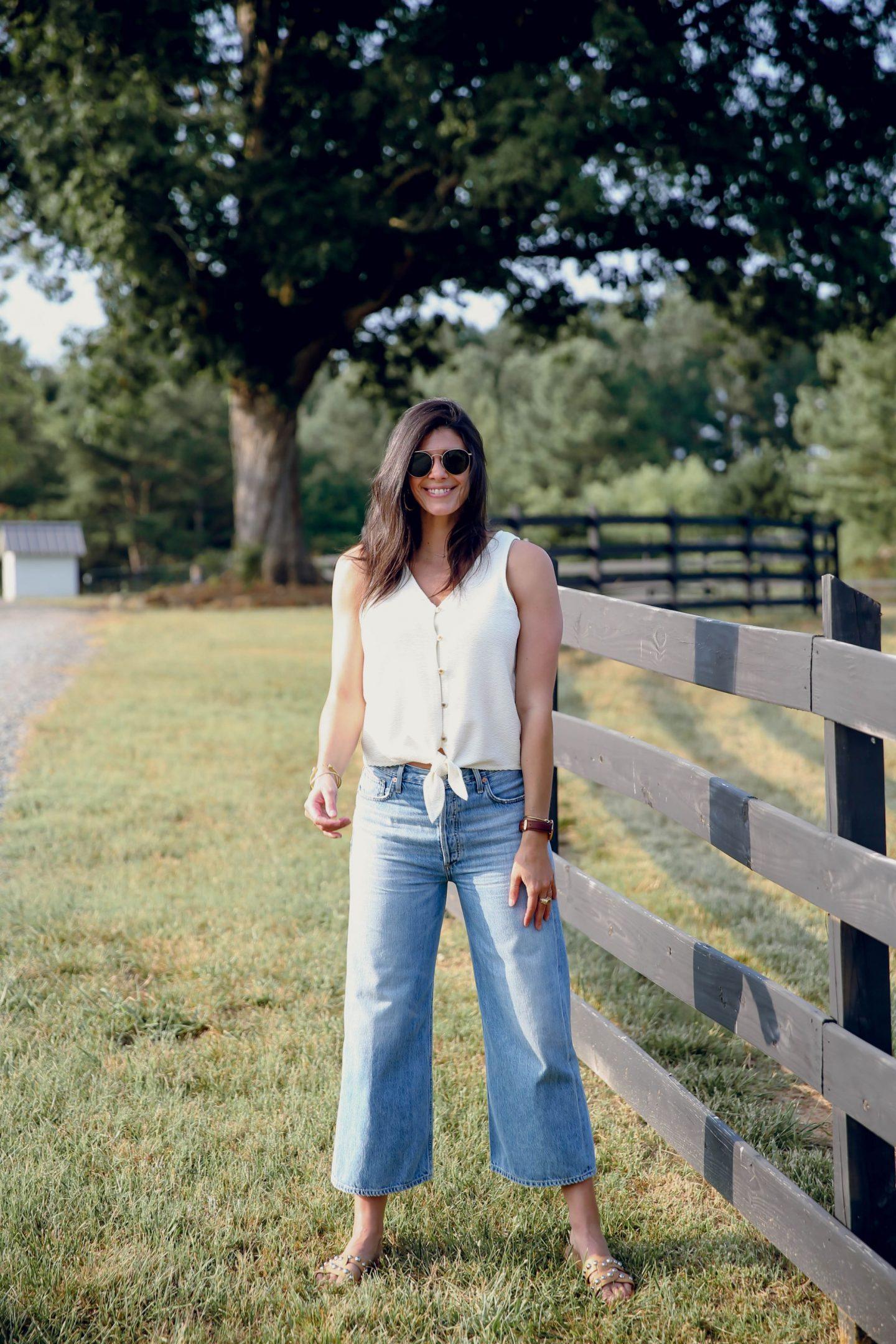wide leg denim - tie front tank - summer outfit - Lauren Schwaiger