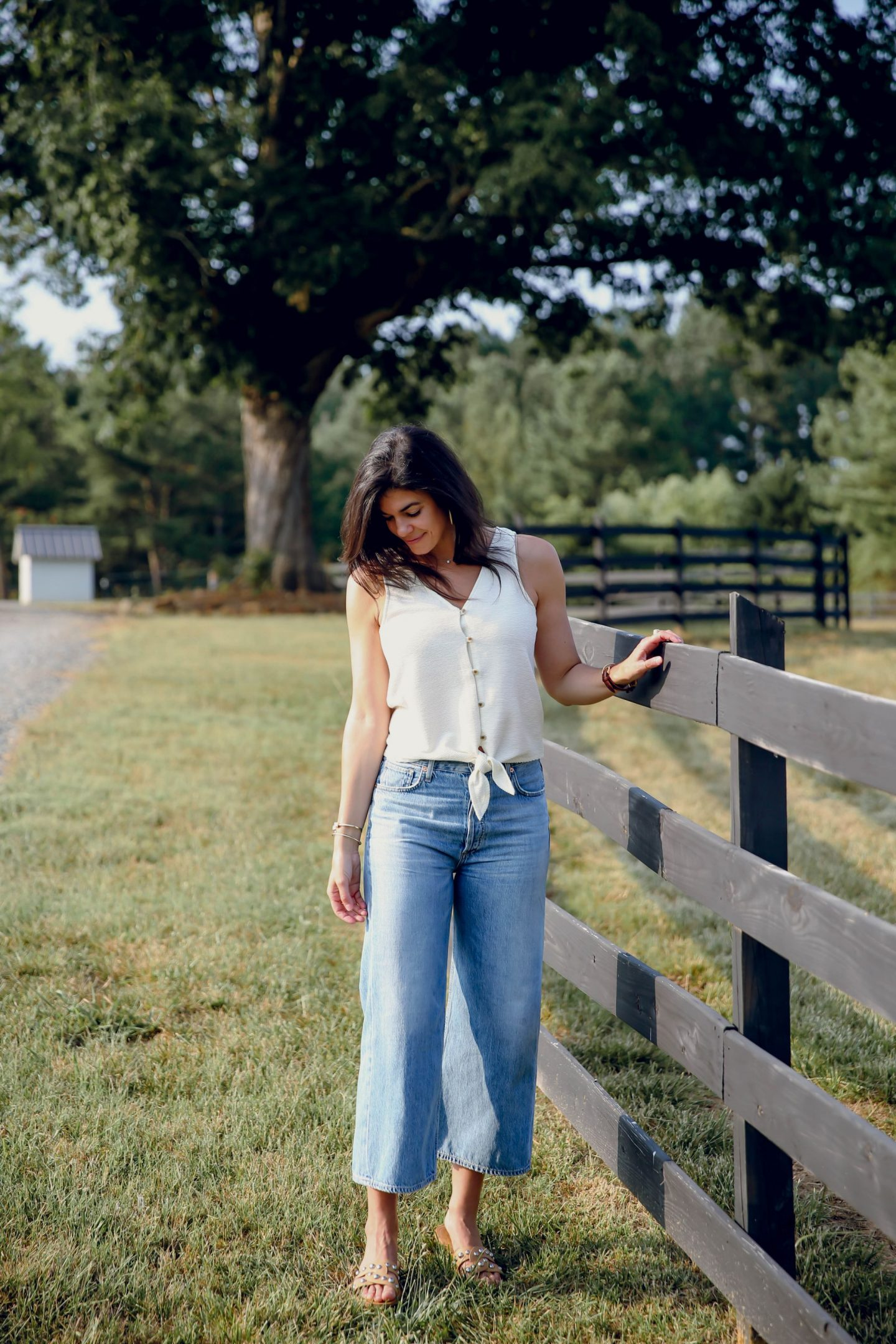 wide leg denim - tie front tank top - Lauren schwiger - summer style inspiration
