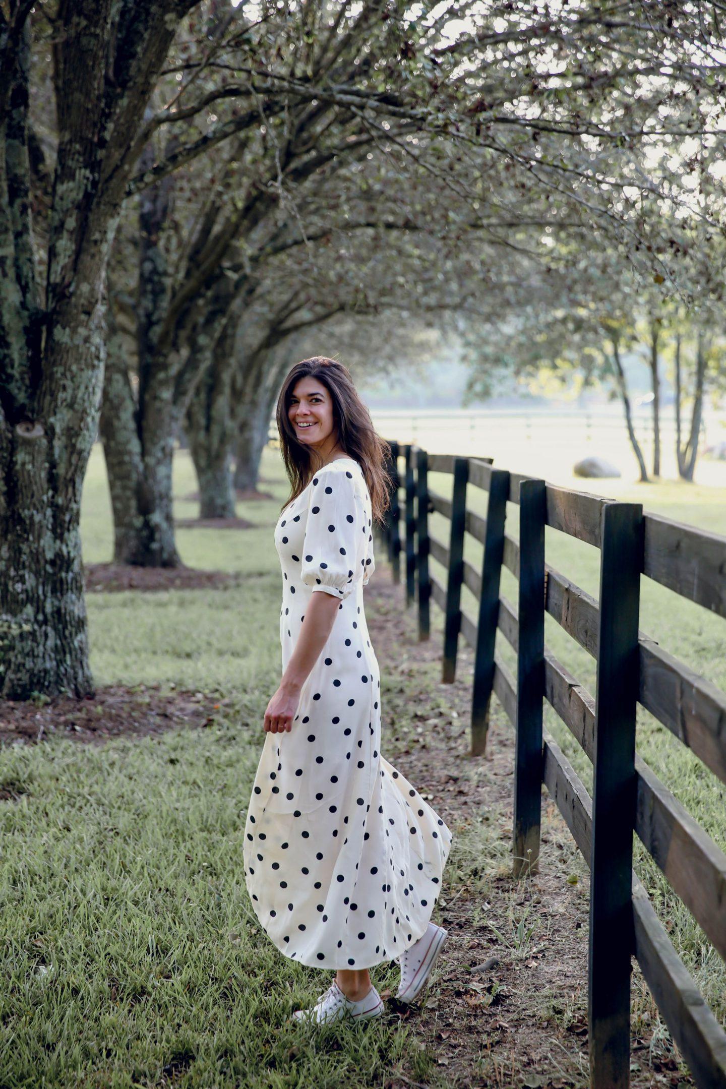 something navy polka dot dress - Lauren Schwaiger -style blog