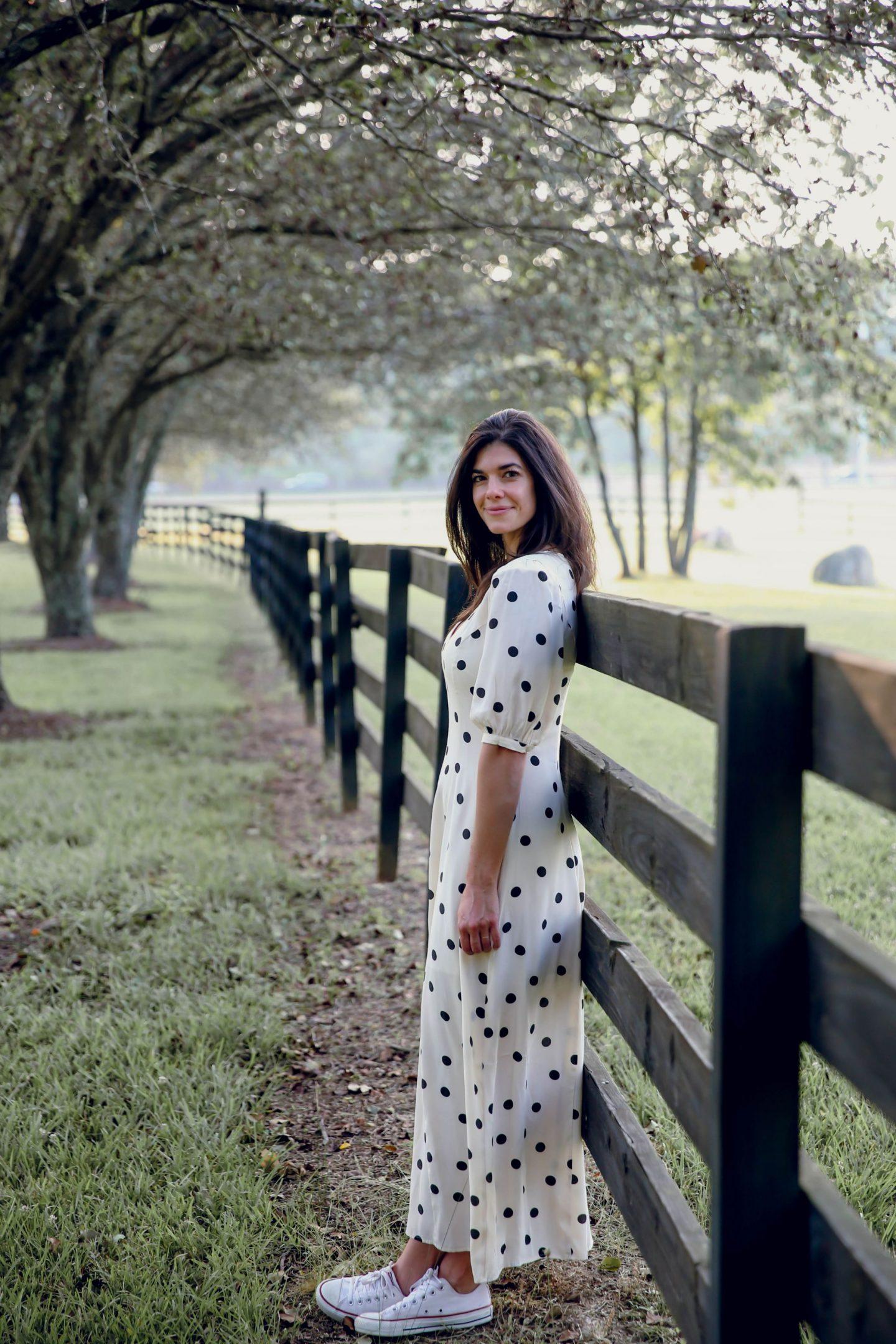 summer style inspiration - white & navy polka dot dress - Lauren Schwaiger