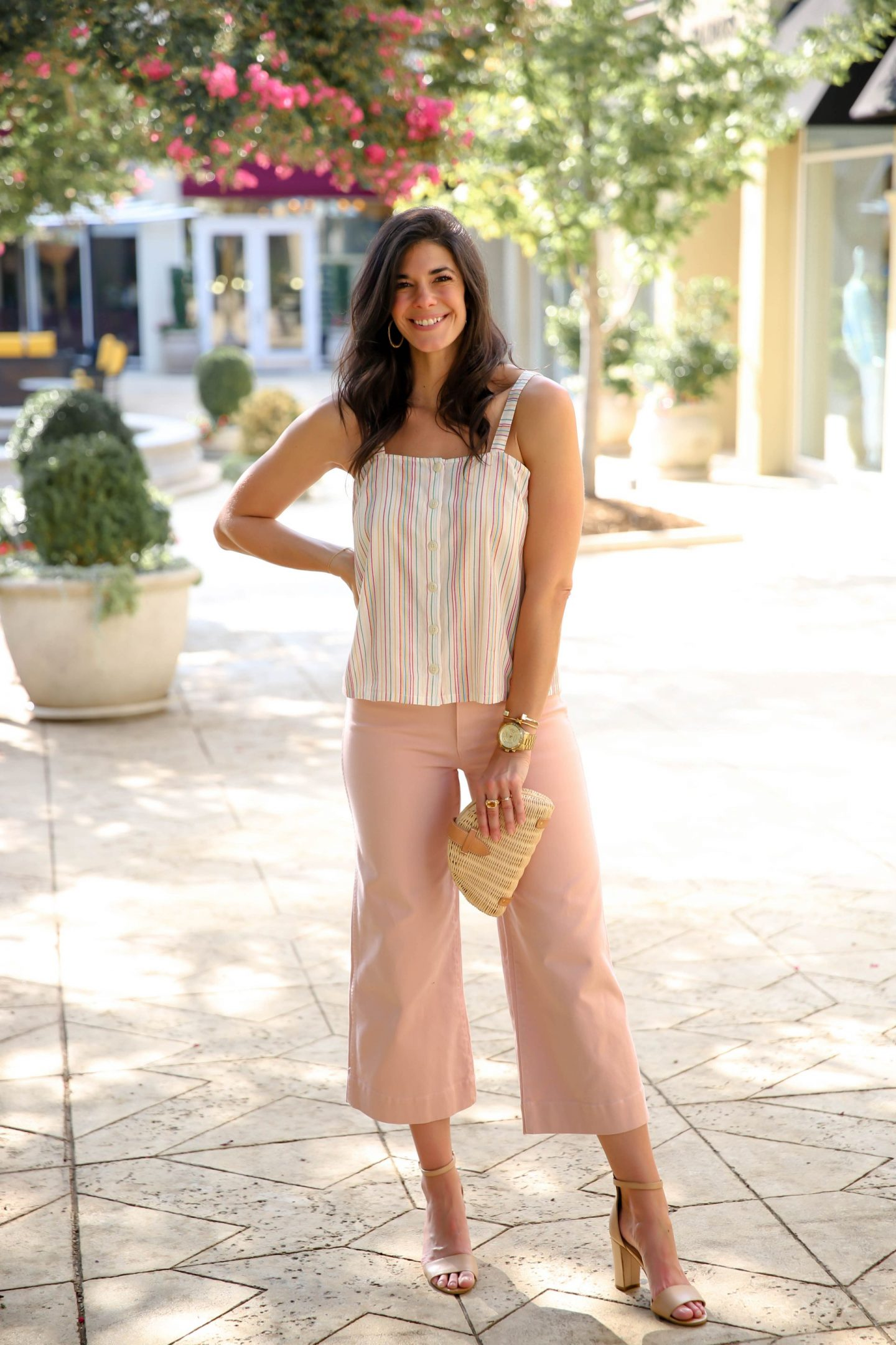 wide leg pastel pink pants - soft stripe top - summer style - Lauren Schwaiger