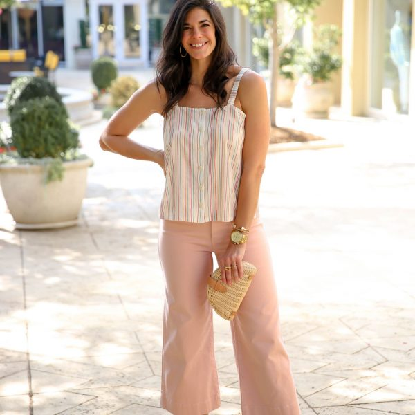Pastel Pink Pants + Soft Stripes for Summer