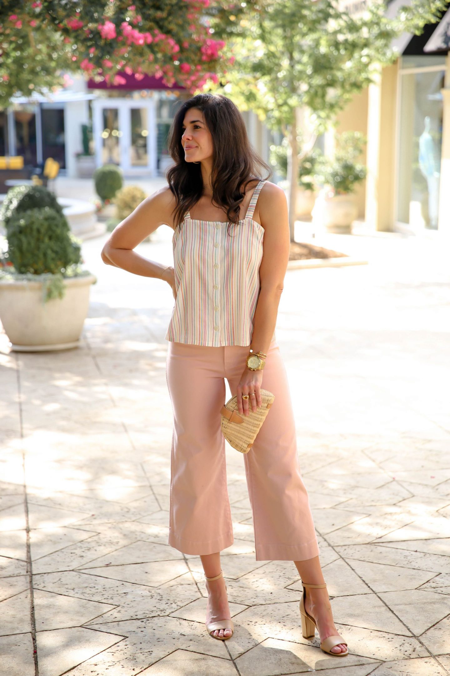soft summer colors - pastel pink pants - soft stripes - Lauren Schwaiger