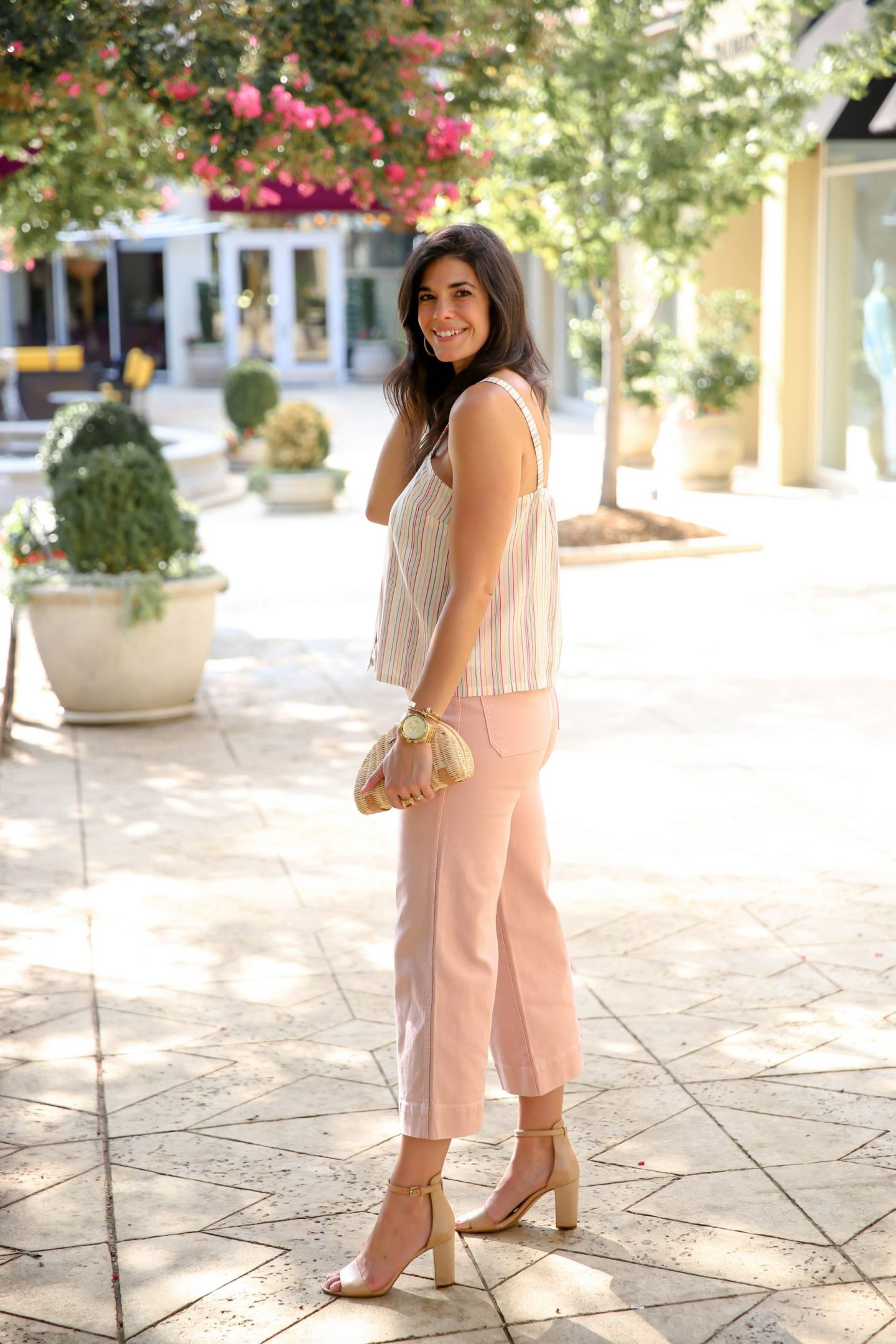 summer style inspiration - wide leg pants - stripe tank - Lauren Schwaiger
