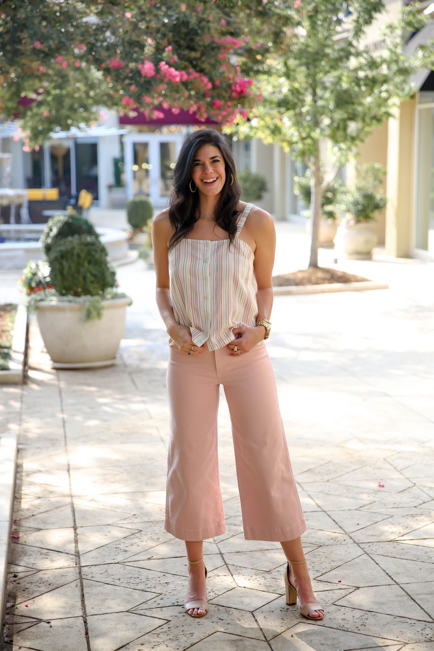wide leg pink pants - soft stripe top - summer style - Lauren Schwaiger