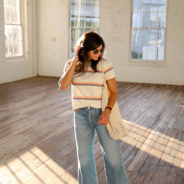 Weekend Uniform: wide leg denim, stripe shirt & sandals