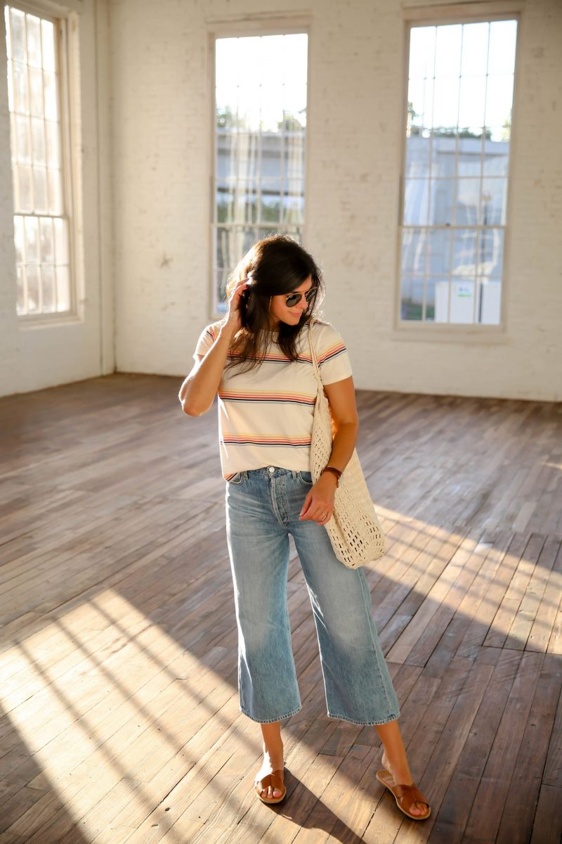 wide leg denim - stripe shirt - sandals - weekend Style - Lauren Schwaiger Style Blog
