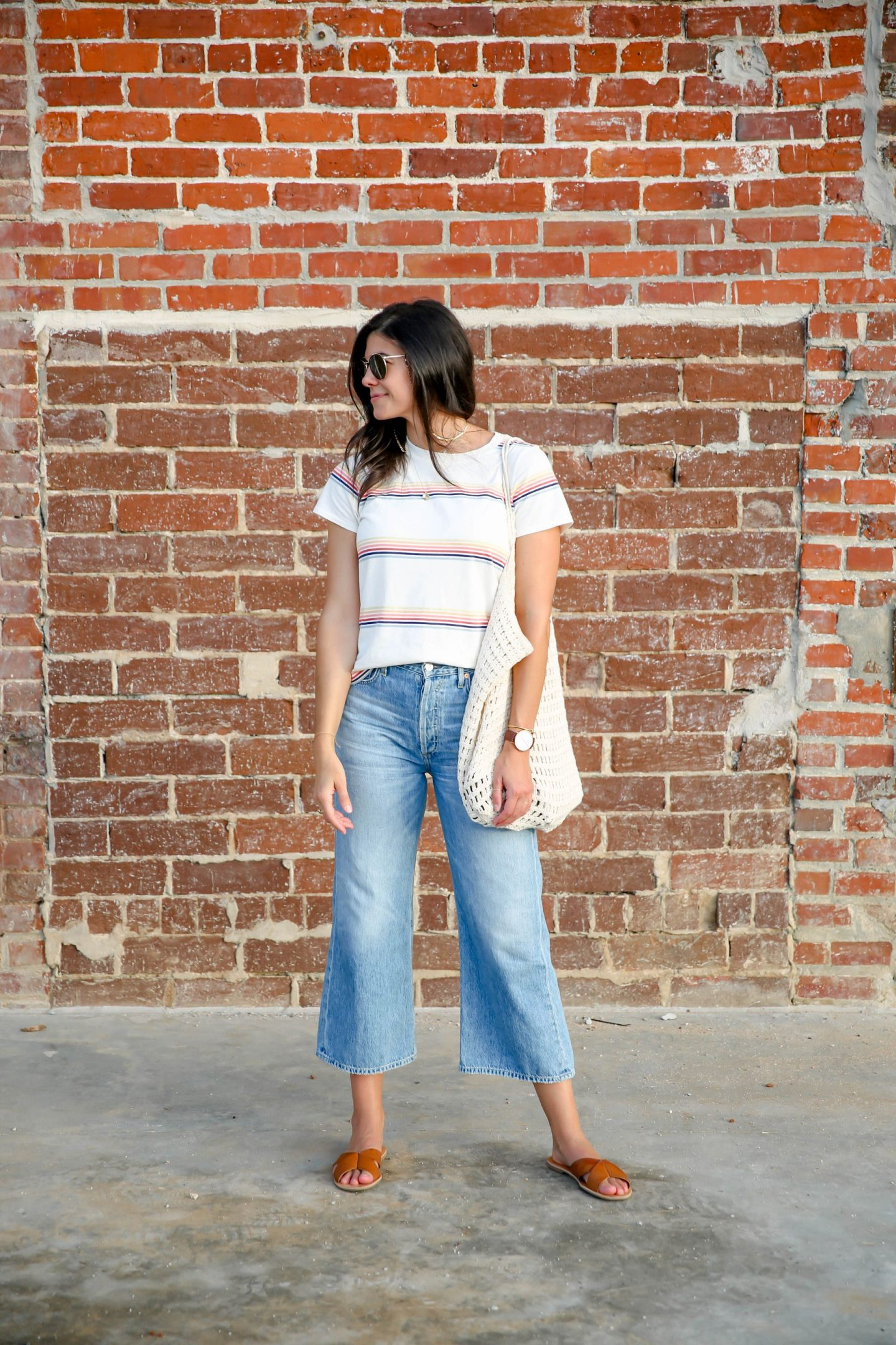 wide leg denim - stripe shirt - casual chic summer style - Lauren Schwaiger
