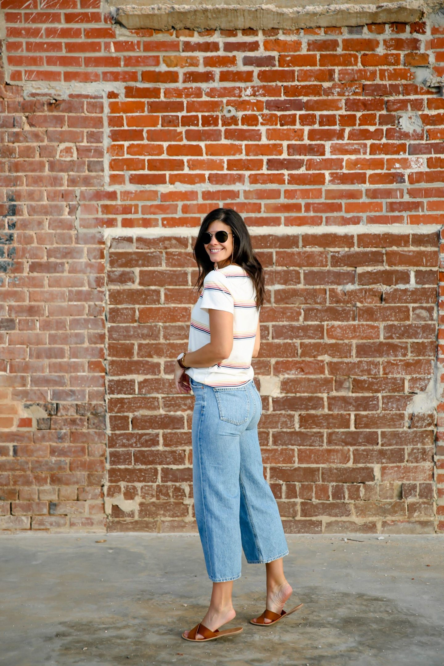 wide leg denim - madewell stripe tee - Lauren Schwaiger Style Blog