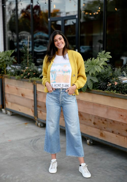 wide leg denim - yellow cardigan - graphic tee - Lauren schwiger style blog