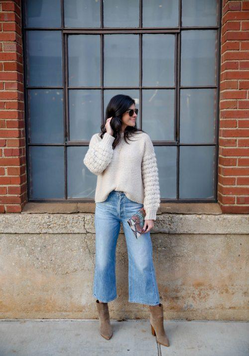 Wide Leg Denim - Ankle Booties - Chunky Knit Sweater - Lauren Schwaiger Style Blog