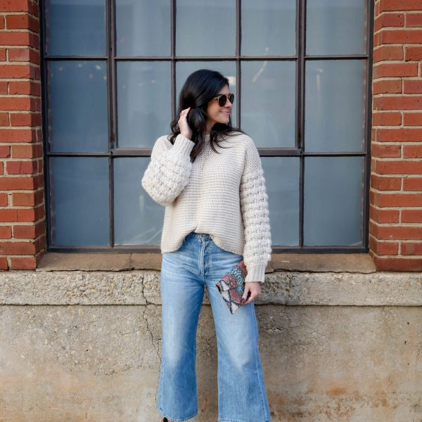 Wide Leg Denim - Ankle Booties - Chunky Knit Sweater - Lauren Schwaiger Style Blog