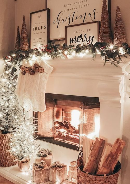 Christmas Mantle with Lights
