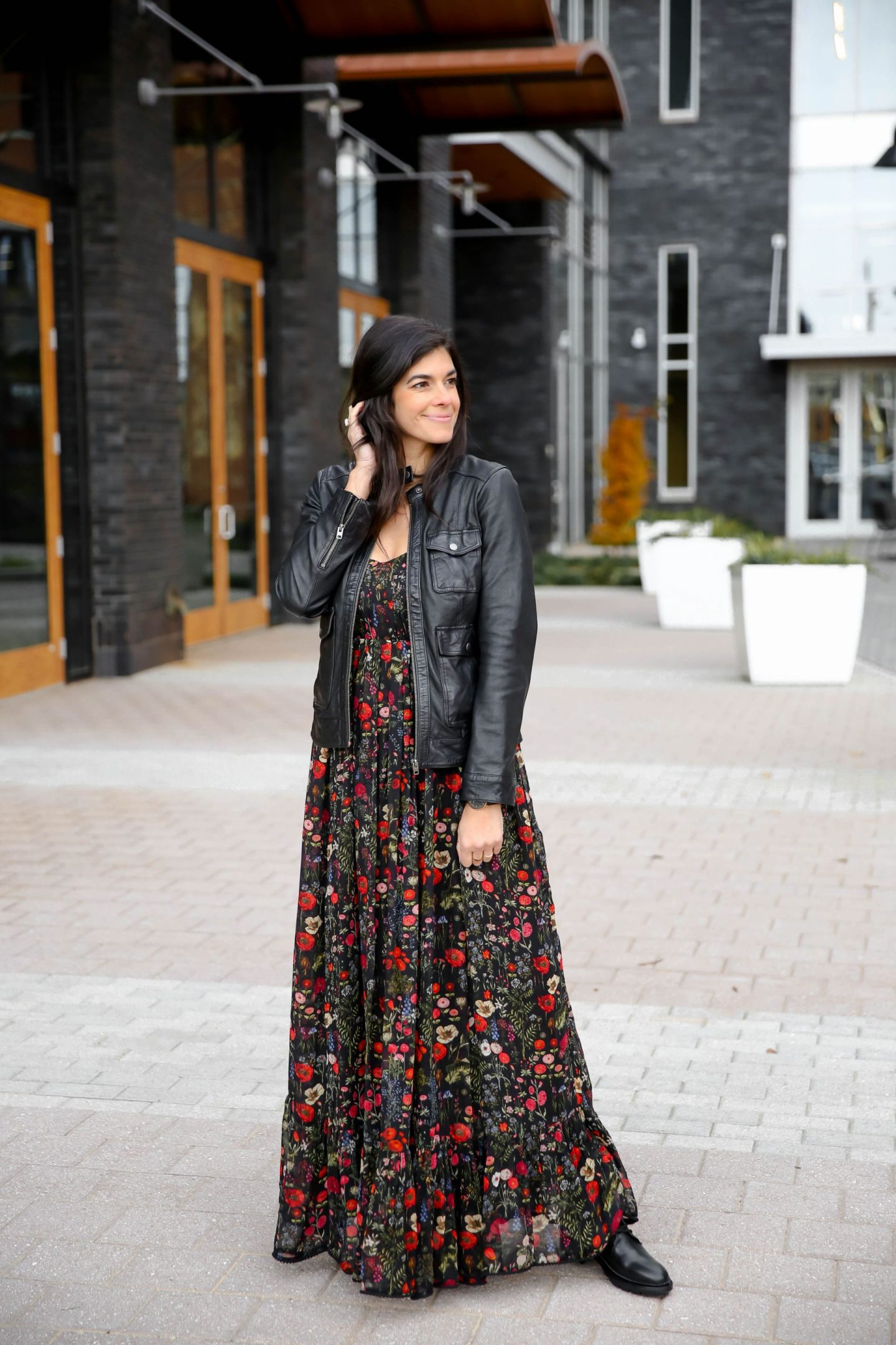 Floral Dress - Leather Jacket - Casual Chic Style Inspiration - Lauren Schwaiger