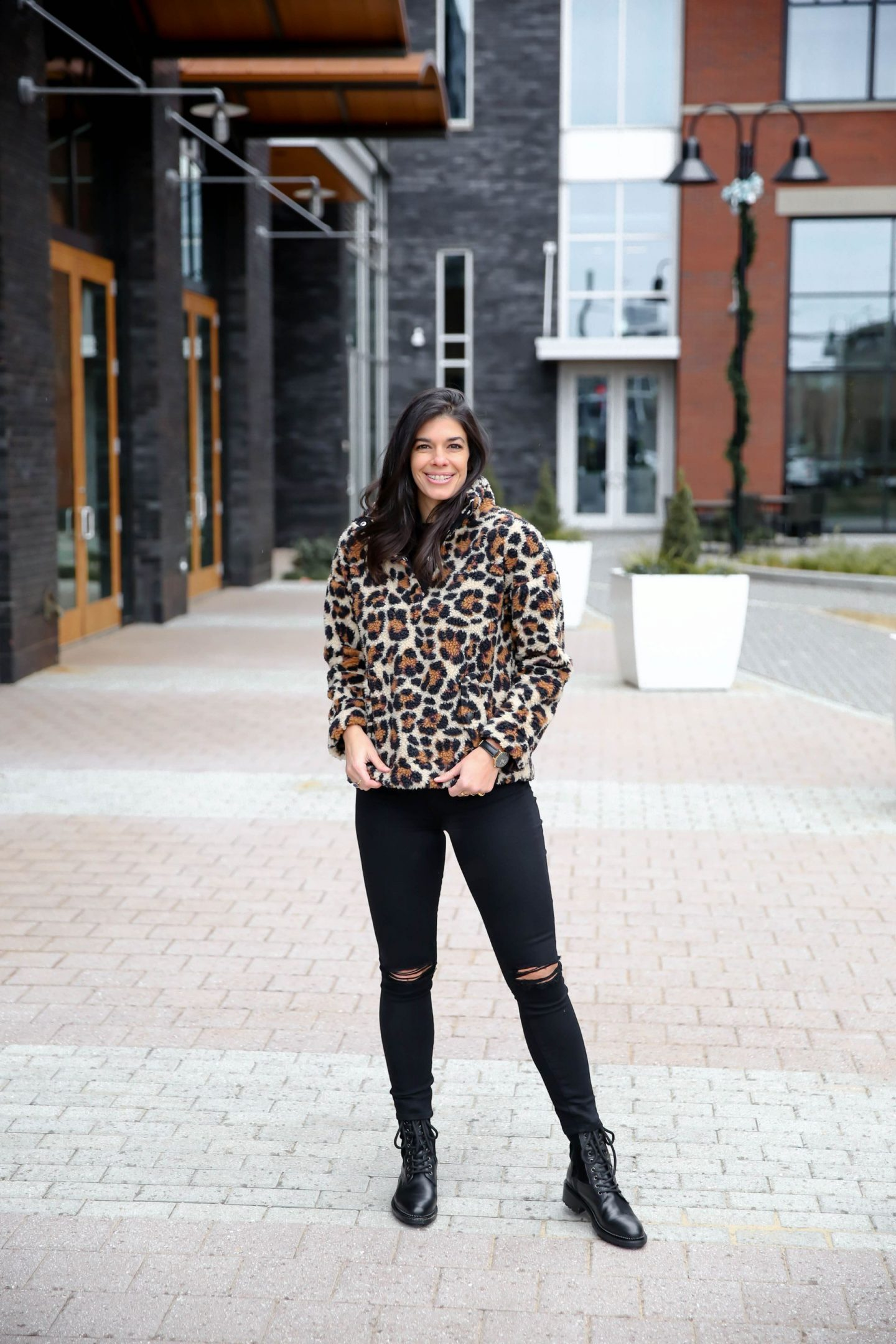 black denim - combat boots - leopard print fleece - Lauren Schwaiger Style Blog