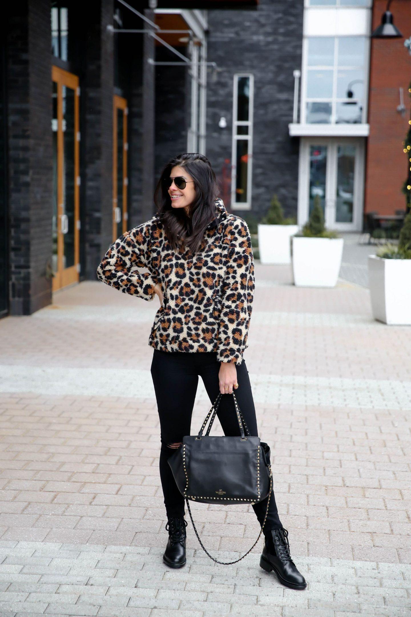 leopard print pullover - black denim - combat boots - winter style inspiration - Lauren Schwaiger