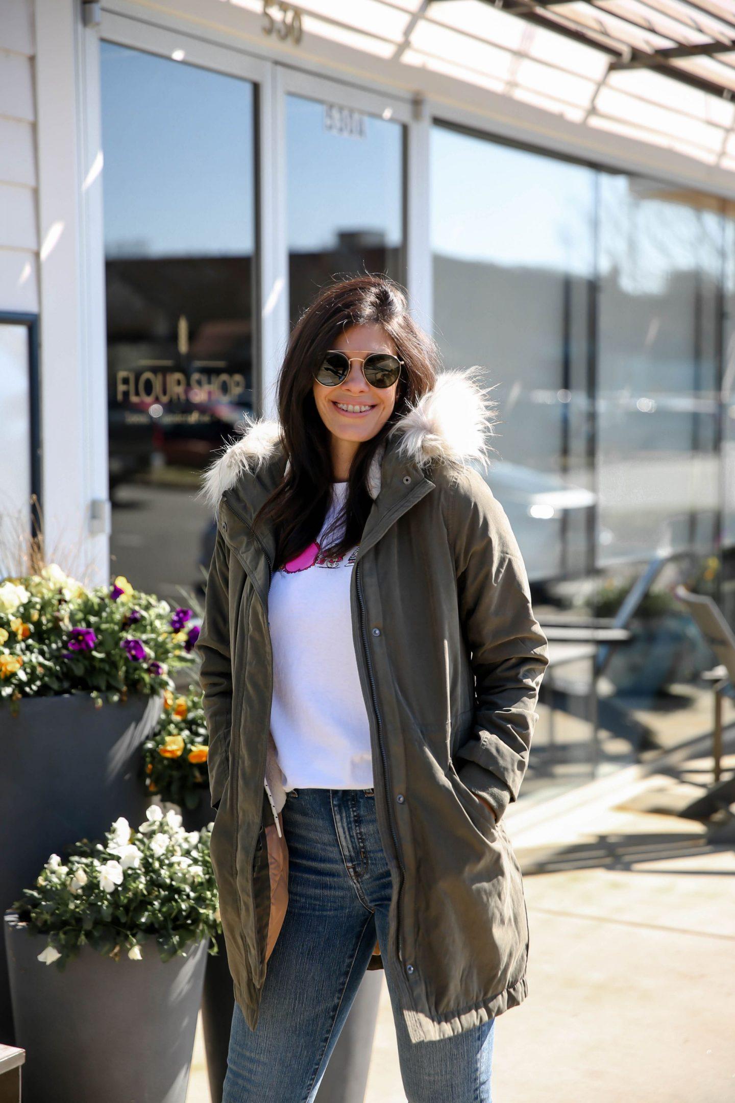 Olive Coat - Faux Fur Hood - Lauren Schwaiger Style Blog