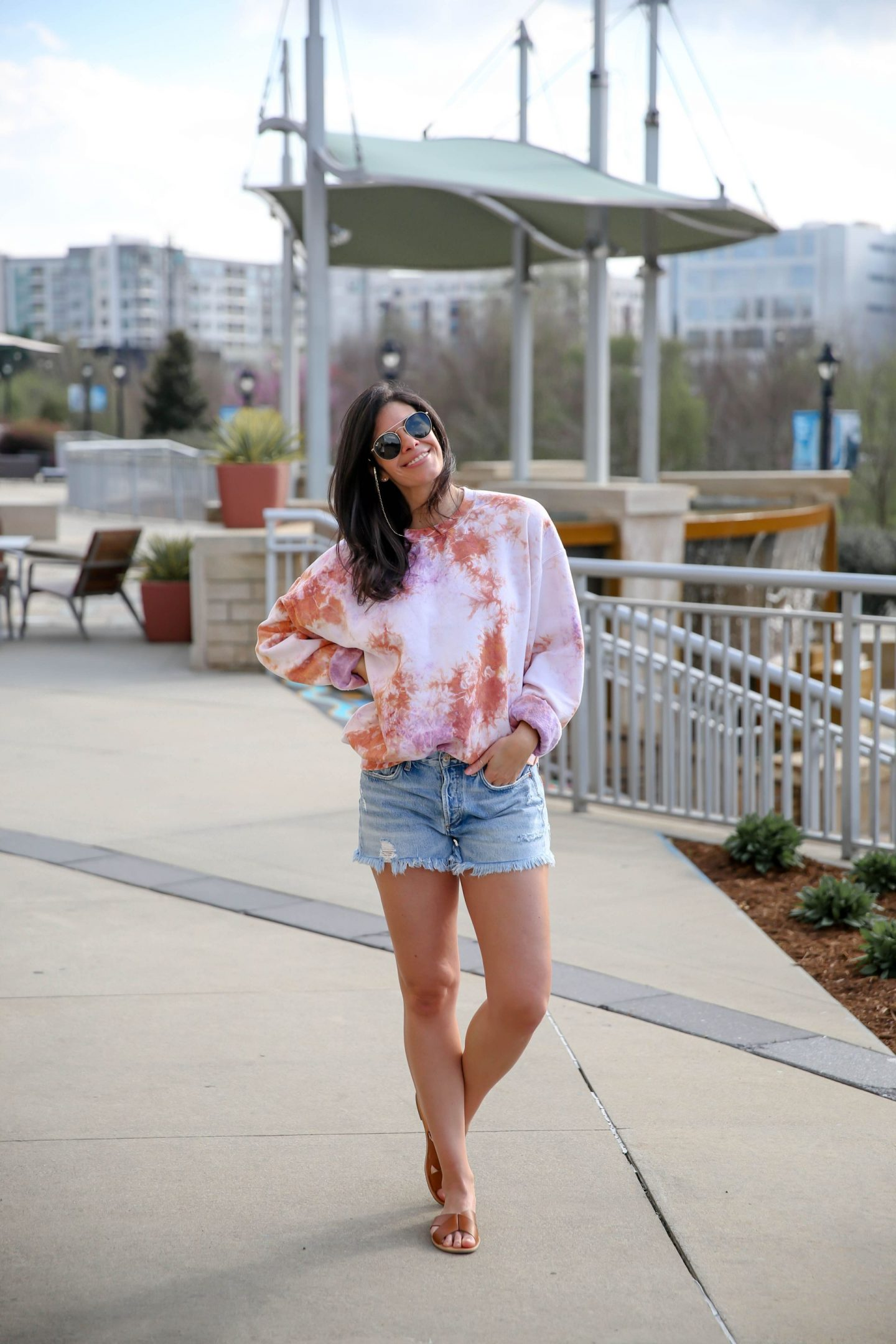 Denim Cutoff Shorts - Tie Dye Sweatshirt - Lauren Schwaiger Style Blog