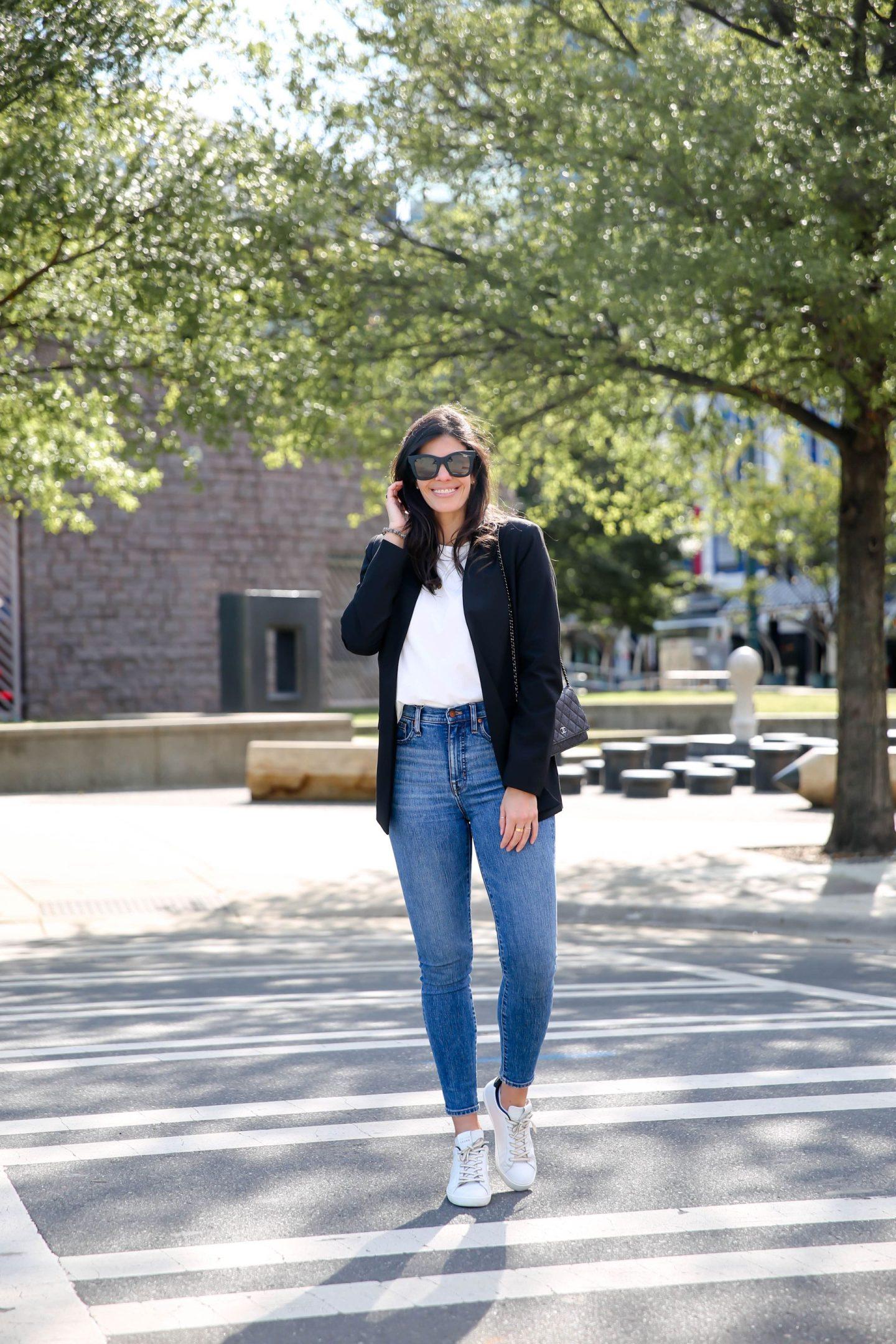 white tee, black blazer - casual chic style inspiration -  Lauren Schwaiger Style Blog
