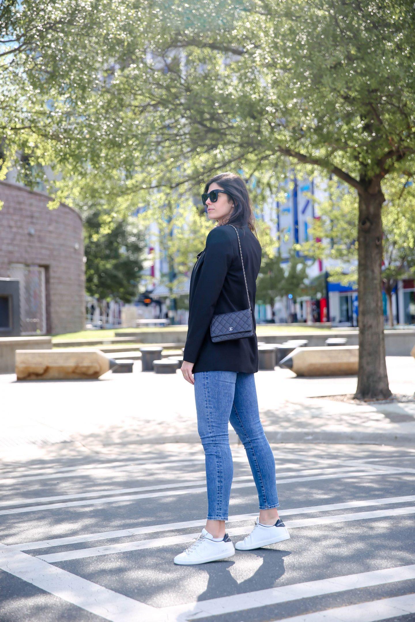 skinny jeans - sneakers - black blazer - Lauren Schwaiger Style Blog