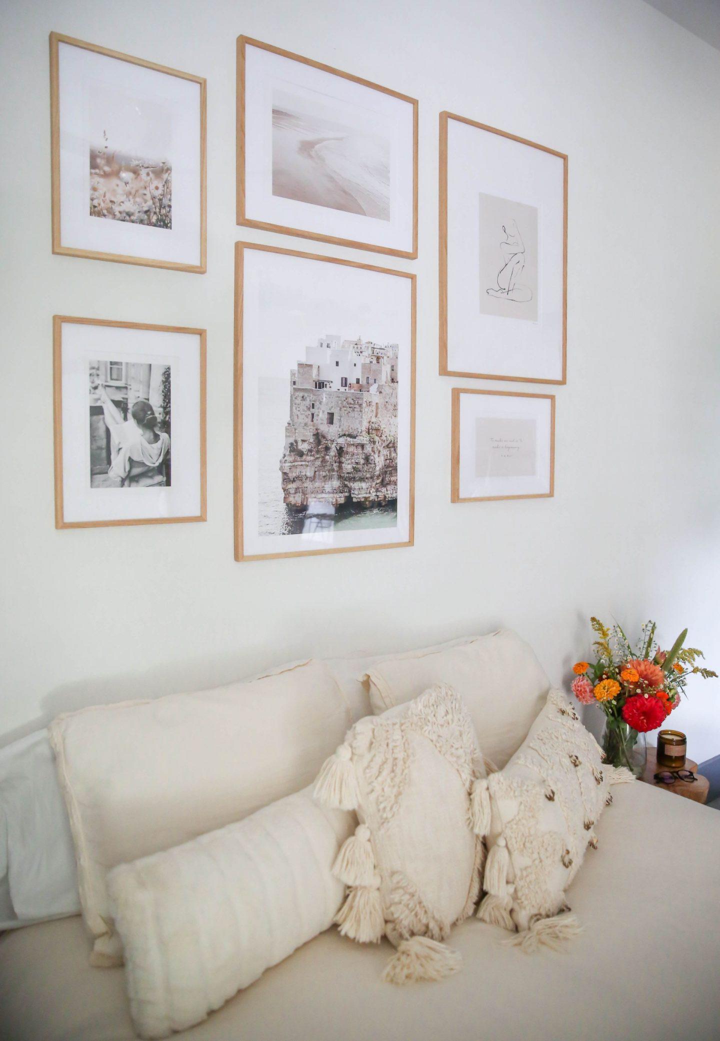 above the bed gallery wall - gallery wall inspiration - Lauren Schwaiger Blog