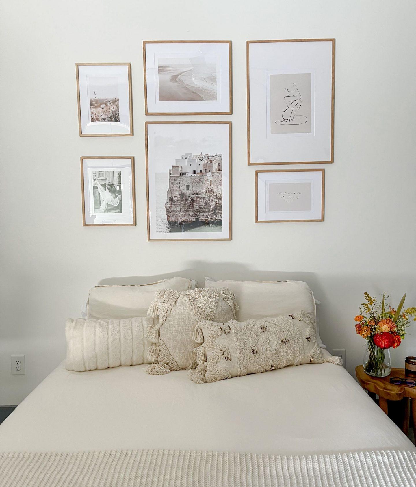 bedroom gallery wall - poster store - Lauren Schwaiger lifestyle blog